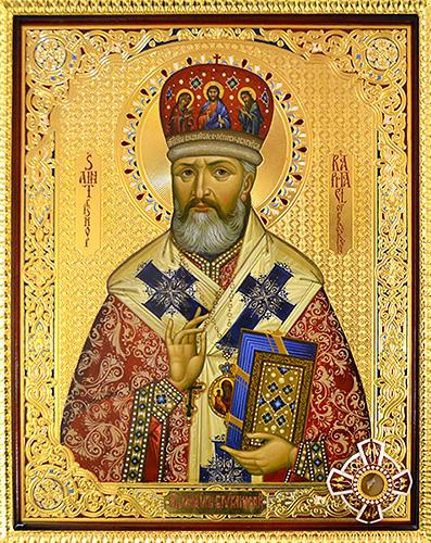 Икона святителя Рафаила Бруклинского с частью мощей в Иоанно-Предтеченском соборе Бруклина