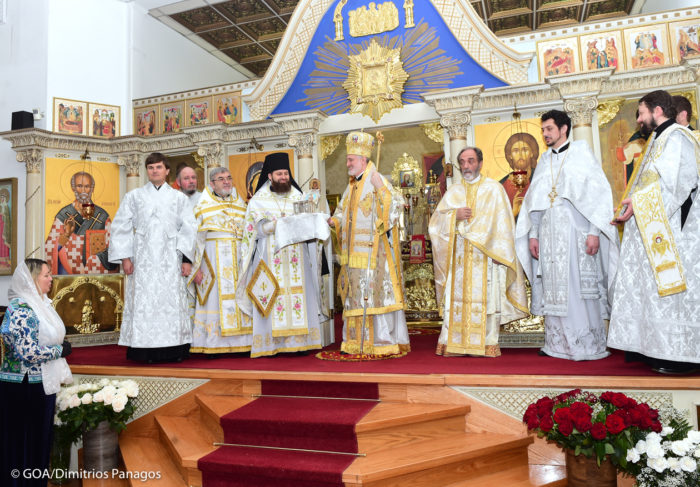 Архиепископ Елпидофор передал в дар Славянскому Викариатству мощи святителя Спиридона Тримифунтского